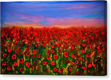 Canvas Print featuring the painting Poppy Field by Evelina Popilian