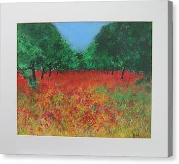 Poppy Field In Ibiza Canvas Print by Lizzy Forrester