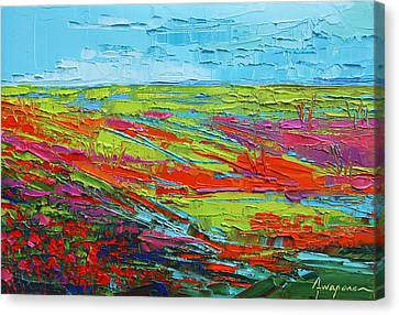 Poppy Field Modern Abstract Impressionistic Oil Painting Palette Knife Canvas Print by Patricia Awapara