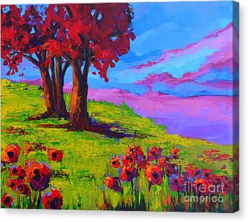 Poppy Field Modern Landscape Colorful Palette Knife Work  Canvas Print by Patricia Awapara