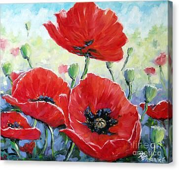 Poppy Love Floral Scene Canvas Print by Richard T Pranke