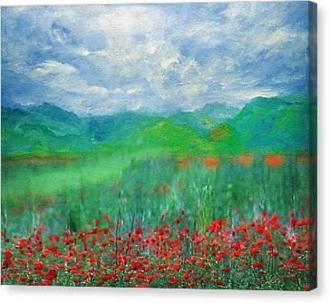 Poppy Meadows Canvas Print by Georgiana Romanovna