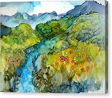 Poppy Mountains Canvas Print by P Maure Bausch
