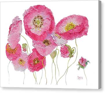 Poppy Painting On White Background Canvas Print by Jan Matson