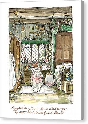 Dresses Canvas Print - Poppy Puts On Her Wedding Dress by Brambly Hedge