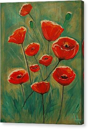 Canvas Print featuring the painting Poppy Surprise by Leslie Allen