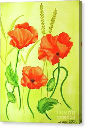 Canvas Print featuring the painting Poppy Trio by Inese Poga