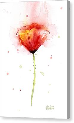 Poppy Watercolor Red Abstract Flower Canvas Print by Olga Shvartsur