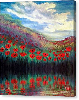 Canvas Print featuring the painting Poppy Wonderland by Holly Martinson