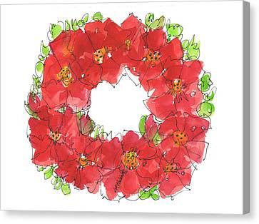 Poppy Wreath Canvas Print