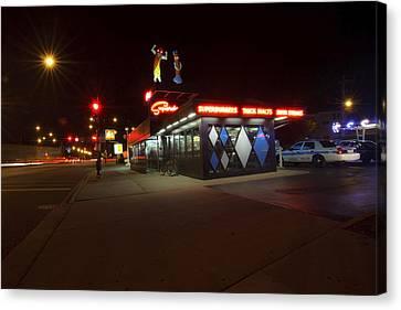 Popular Chicago Hot Dog Stand Night Canvas Print by Sven Brogren