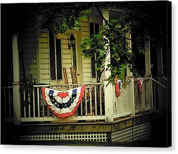 4th July Canvas Print - Porch Flag by Michael L Kimble