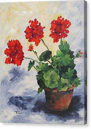 Porch Geraniums Canvas Print by Torrie Smiley