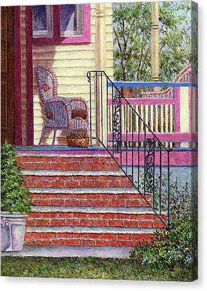 Porch With Basket Canvas Print by Susan Savad