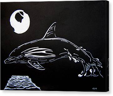 Canvas Print featuring the drawing Porpoise Sillhouette by Mayhem Mediums
