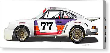 Porsche 1977 Rsr Illustration Canvas Print by Alain Jamar