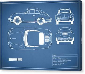 Porsche 356 C Blueprint Canvas Print by Mark Rogan