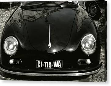 Porsche 356 Coupe Front Canvas Print - Porsche 356 Speedster In Black And White by Georgia Fowler