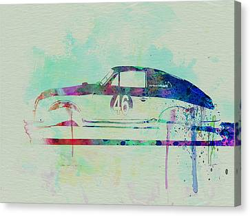 Porsche 356 Watercolor Canvas Print by Naxart Studio