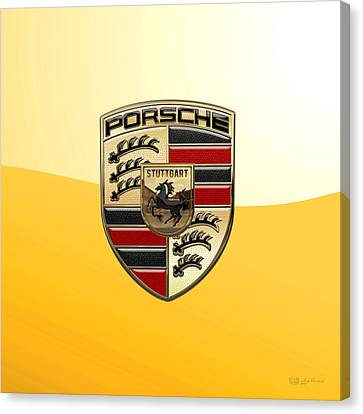 Porsche - 3d Badge On Yellow Canvas Print
