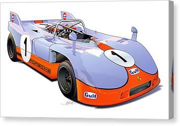 porsche 908 GULF illustration Canvas Print