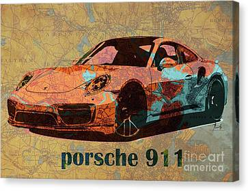 Old Car Canvas Print - Porsche 911 2017 On Old Boston Map Year 1893 by Pablo Franchi