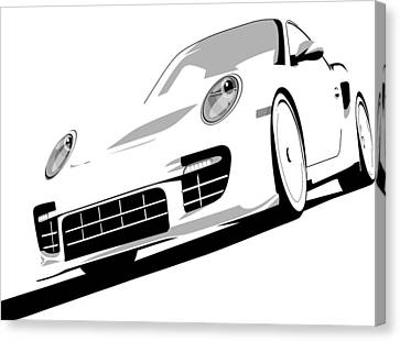 Porsche 911 Gt2 White Canvas Print