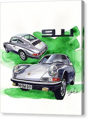 Porsche 911 Stainless Steel Body Canvas Print by Yoshiharu Miyakawa