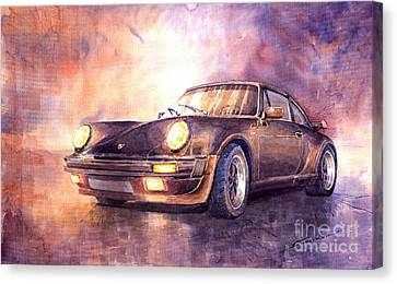 Vintage Car Canvas Print - Porsche 911 Turbo 1979 by Yuriy  Shevchuk