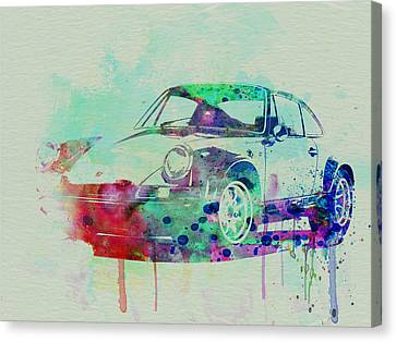 Vintage Car Canvas Print - Porsche 911 Watercolor 2 by Naxart Studio