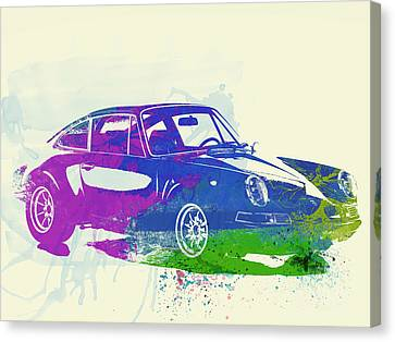 Porsche 911 Watercolor Canvas Print by Naxart Studio