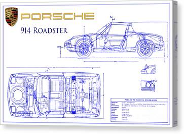 Porsche 914 Blueprint Canvas Print by Jon Neidert