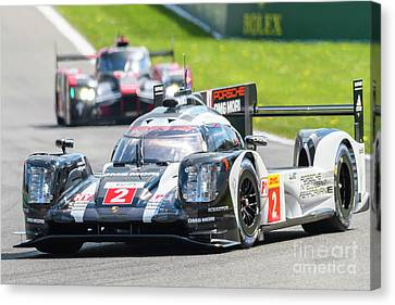 Porsche 919 Hybrid And Audi R18 Race Cars Canvas Print by Sjoerd Van der Wal