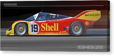 Canvas Print featuring the photograph Porsche 962 Andretti by Ed Dooley
