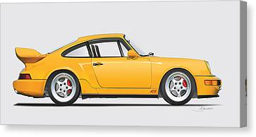 Porsche 964 Carrera Rs Illustration In Yellow. Canvas Print