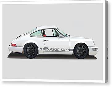 Porsche 964 Carrera Rs White Canvas Print by Alain Jamar