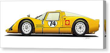Porsche Carrera 906 Illustration Canvas Print by Alain Jamar