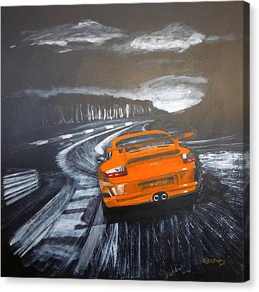 Canvas Print featuring the painting Porsche Gt3 @ Le Mans #3 by Richard Le Page