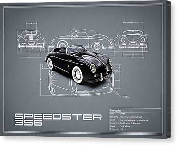 Classic Porsche 356 Canvas Print - Porsche Speedster Blueprint by Mark Rogan