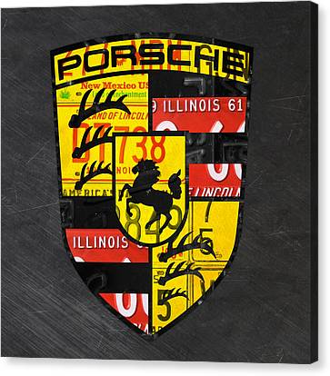 Tag Art Canvas Print - Porsche Sports Car Logo Recycled Vintage License Plate Car Tag Art by Design Turnpike