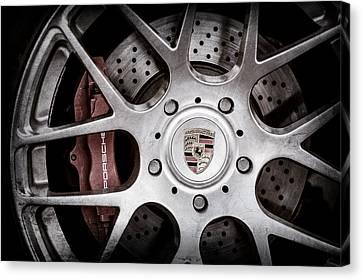 Porsche Wheel Emblem -1323ac Canvas Print by Jill Reger