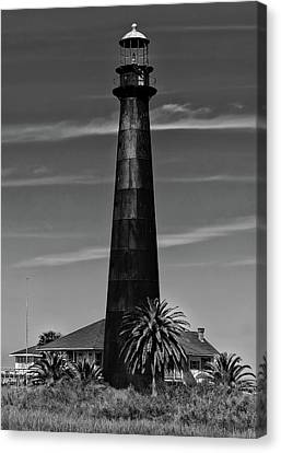 Port Bolivar Lighthouse Black And White Canvas Print