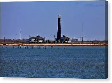 Port Bolivar Lighthouse From The Bay Canvas Print