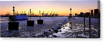 Canvas Print - Port Of Hamburg Winter Sunset by Marc Huebner