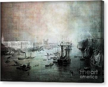Port Of London - Circa 1840 Canvas Print by Lianne Schneider