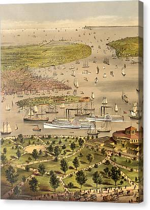 Port Of New York, Birds Eye View From The Battery Looking South, Circa 1878 Canvas Print by Currier and Ives
