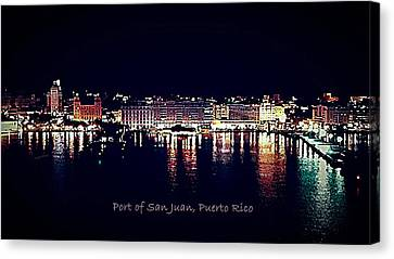 Canvas Print featuring the photograph Port Of San Juan Night Lights by DigiArt Diaries by Vicky B Fuller