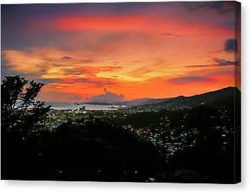 Port Of Spain Sunset Canvas Print by Nadia Sanowar