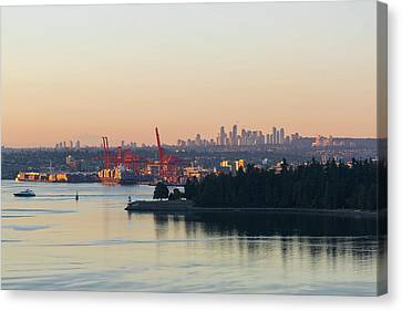 Port Of Vancouver By Stanley Park Canvas Print by David Gn