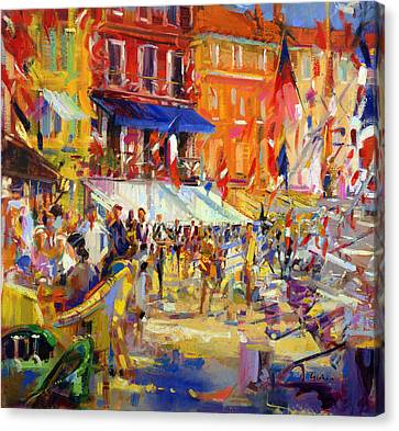 Port Promenade Saint-tropez Canvas Print by Peter Graham